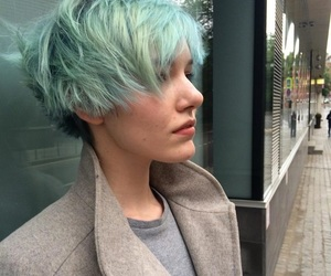 green hair, short hair, and pixie cut image