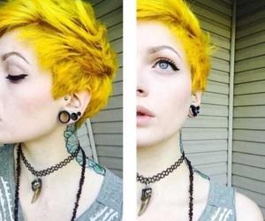 short hair, yellow hair, and pixie cut image