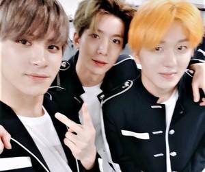 taeyang, chani, and hwiyoung image