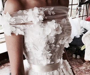 dress, white, and fairytale image