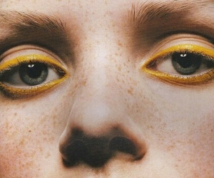 yellow, eyes, and makeup image