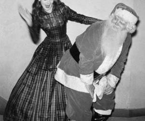 santa, black and white, and christmas image