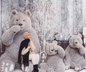 fashion, hijab, and teddy bear image