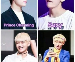 bts, v, and funny image