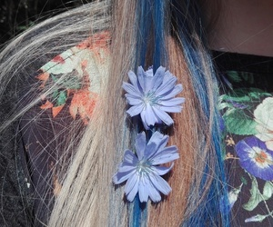 blue hair, flowers, and flower t-shirt image