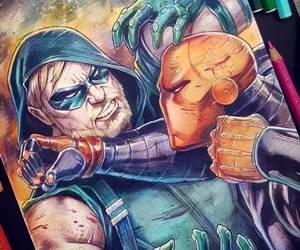 dc comics, green arrow, and deathstroke image