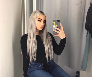 fashion, silver hair, and baddie image