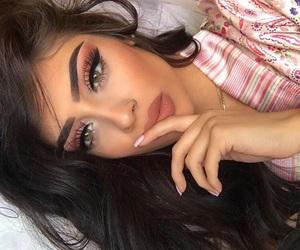 eye makeup, pretty girl, and brunette beauty image