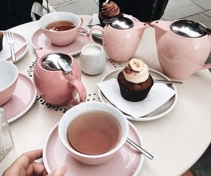 food, pink, and tea image