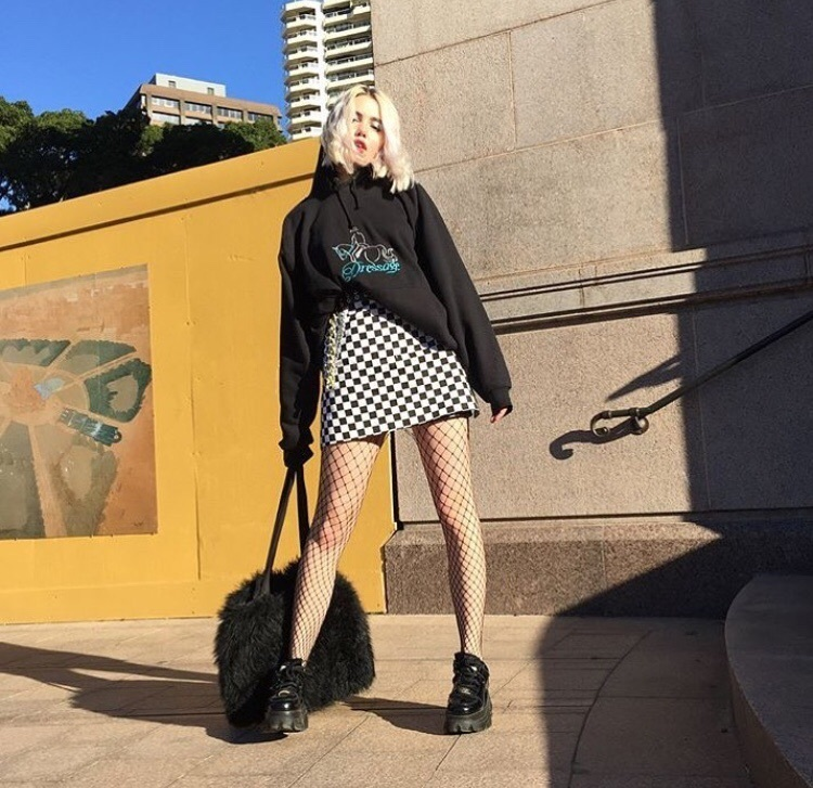 fish nets, checkered skirt, and aesthetic style image