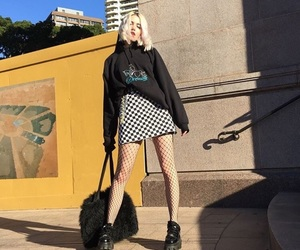 grunge style, checkered skirt, and fish nets image