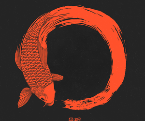 fish, art, and red image