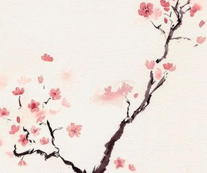 cherry blossom, art, and pink image