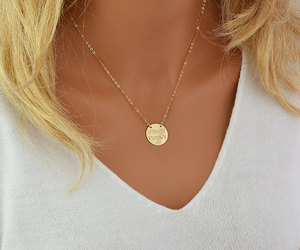 etsy, gold necklace, and gold disc image