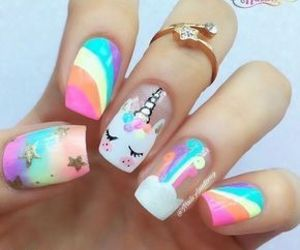 nails, unicorn, and rainbow image