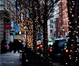 city, lights, and trees image