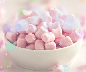 background, marshmallows, and yummy food image