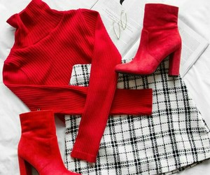 outfit, red, and boots image