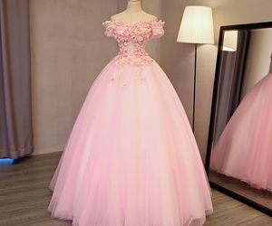 long dress, tulle prom dress, and appliques flower image