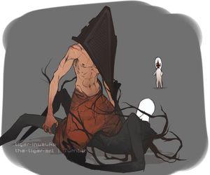 pyramid head, silent hill, and slenderman image