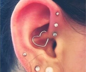 piercing, earrings, and heart image