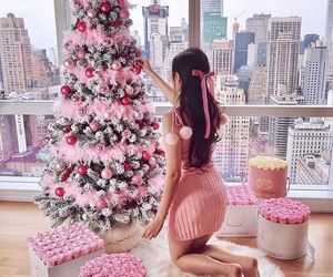 christmas, pink, and tree image