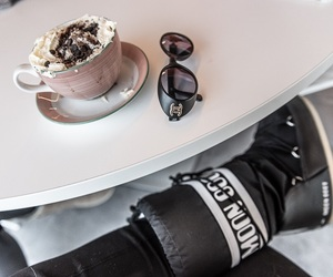 chanel, hot chocolate, and snow image