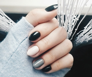 black, gray, and nails image