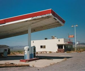 abandoned, blue, and gas station image