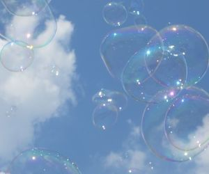 bubbles, blue, and sky image