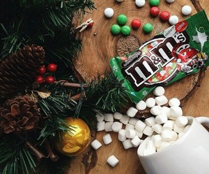 christmas, m&m's, and marshmallow image