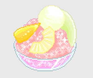 8-bit, fruit, and ice cream image