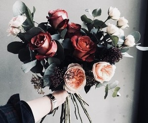bouquet, red, and floral image