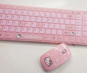 pink, hello kitty, and keyboard image