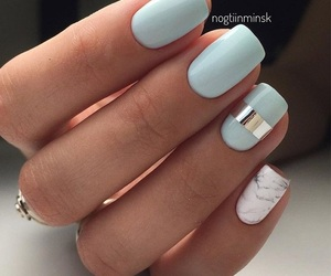 nails, blue, and manicure image