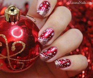 nails, nailart, and red image
