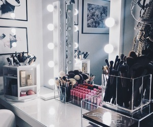 bedroom, corner, and makeup image