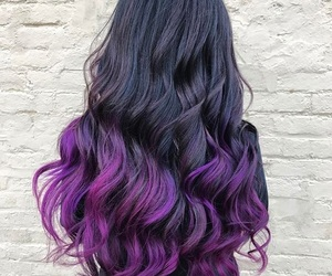 purple hair, long wavy hair, and wavy hair image