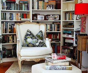 home decor, home library, and bookshelves image