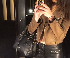 brown jacket, suede jacket, and leather outfit image