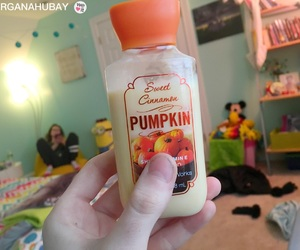 Halloween, lotion, and pumpkin image