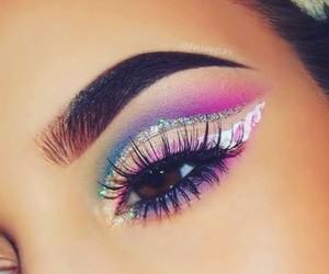 eyes, makeup, and unicorn image