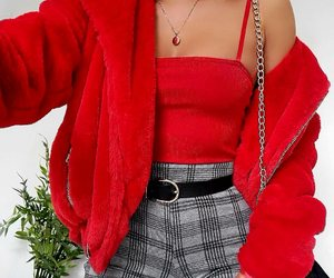 gold necklaces, red bodysuit, and grey plaid pants image