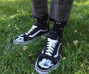 vans, flowers, and grass image