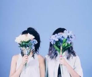blue, flowers, and girls image