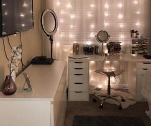 bedroom, lights, and vanity image