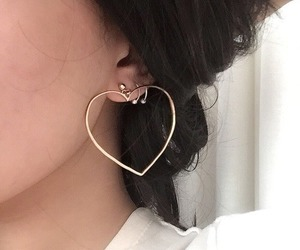 earrings, girl, and heart image
