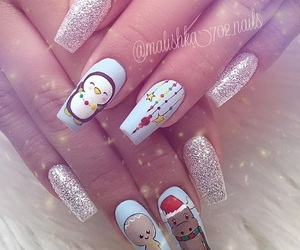 reindeer, snowman, and glitter nail image
