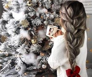 christmas, girl, and grey image