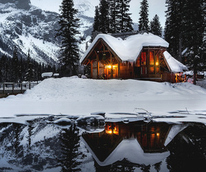 snow, house, and nature image